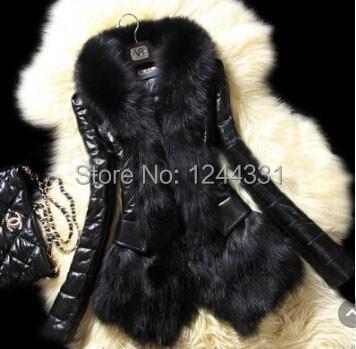 Cuero Parka Abrigo Detalles ' Coat Collar Invierno La Sobre Chaqueta De Los Algodón Fur Mujer S S7xdZH