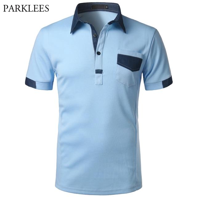 ec3ee33820 Brand Polo Shirt Men Denim Patchwork Cotton Mens Polo Shirt Casual Slim Fit Short  Sleeve Pocket