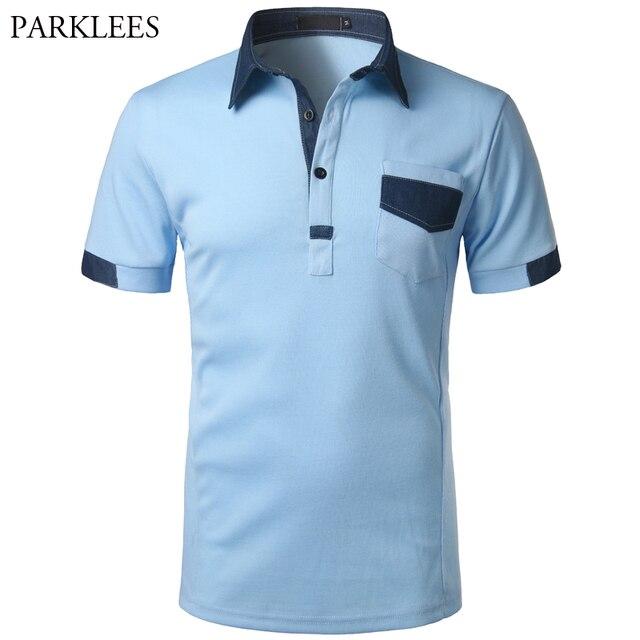 e3bc2ff06d394 Camisa Polo da marca Homens Denim Patchwork Algodão Camisa Polo Dos Homens  Bolso Casual Slim Fit