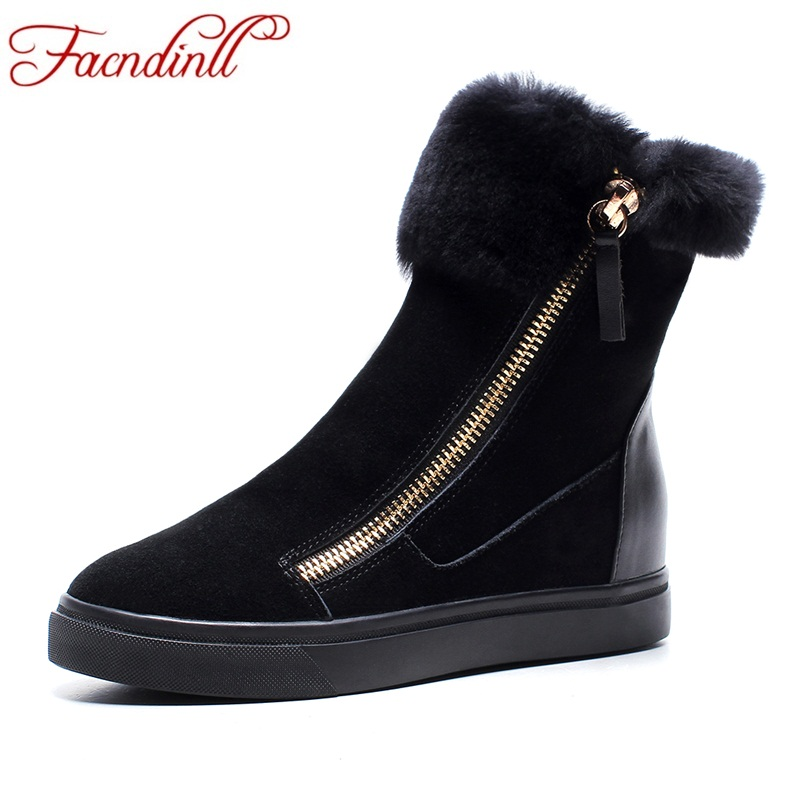FACNDINLL shoes woman winter snow boots fashion genuine leather flat with zipper black pink women warm ankle boots casual shoes women winter shoes women s ankle boots the new 3 color fashion casual fashion flat warm woman snow boots free shipping