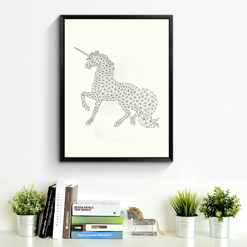 Aliexpress Com Buy Geometric Unicorn Canvas Art Print Poster Wall Pictures For Home Decoration Wall Decor