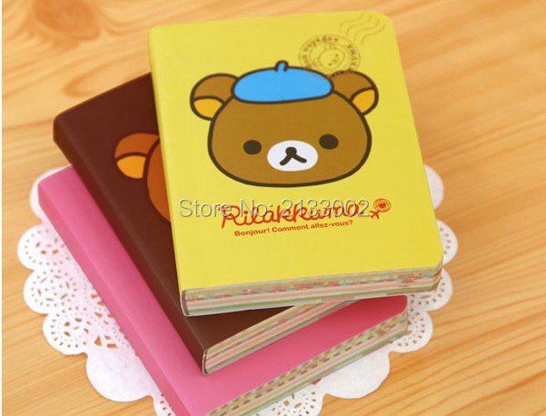 Notebooks Cute Cartoon Rilakkuma Printed Cover Color Pages Mini Notebook Diary Notepad Travel Book