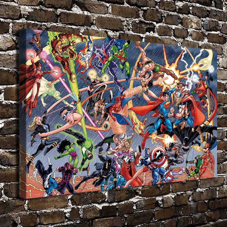 A2936 Marvel vs DC Superman Comics Cartoon Abbildung. HD Leinwand Home decoration...