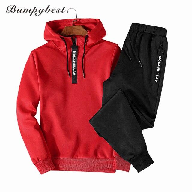 61bc59913b201 Bumpybeast Hot spring Autumn Men Tracksuit Two Piece Sets Pullover Hoodies  + Pants Sportwear Suit Male