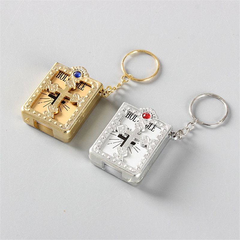 2019 Pocket Edition English Bible Keychain Keyring Christianity Fun English Book Keychain Bible Keychain Pvc Revolution Leather