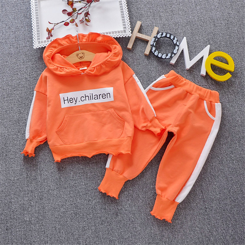 Wholesale (4 sets/lot) 2019 Children's Clothing Hoodies & Bottom 2 PCs Girls Clothing Sets Spring Clothes 010601