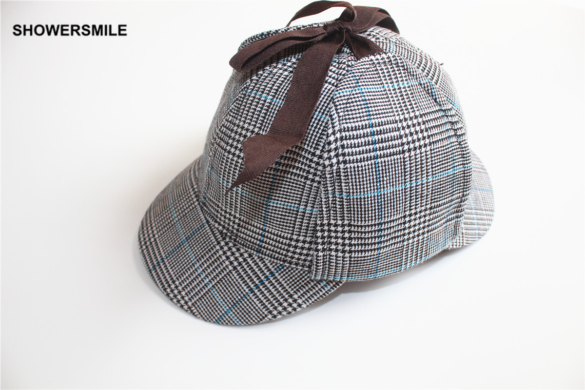 bc4515039e054 Sherlock Holmes Hat Baseball Cap Houndstooth Deerstalker Plaid ...