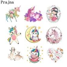 Prajna Unicorn Cartoon Iron-On Transfers Cute Anime Stripe On Clothes Ironing Stickers For Kids Clothing DIY Applique Wholesale