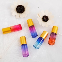 25PCS 5ML Thick Gradient Essential Oil Glass Bottle Roller Steel Ball Perfume With Opener Dropper