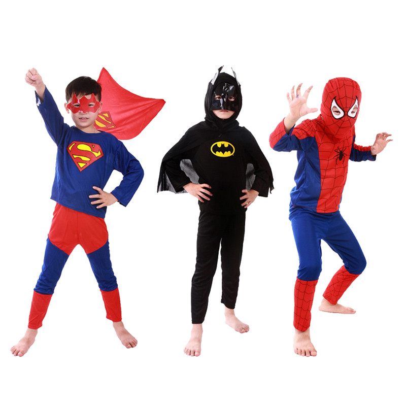 Spiderman Costume Batman Zorro Halloween Costumes For Kids Superhero Capes Anime Cosplay Carnival Christmas Superman Costume