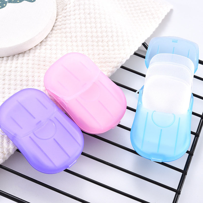 20Pcs Portable Scented Slice Outdoor Travel Supplies Hand Wash Tools Disposable Soap Paper Bath Soaps Mini Paper Soap