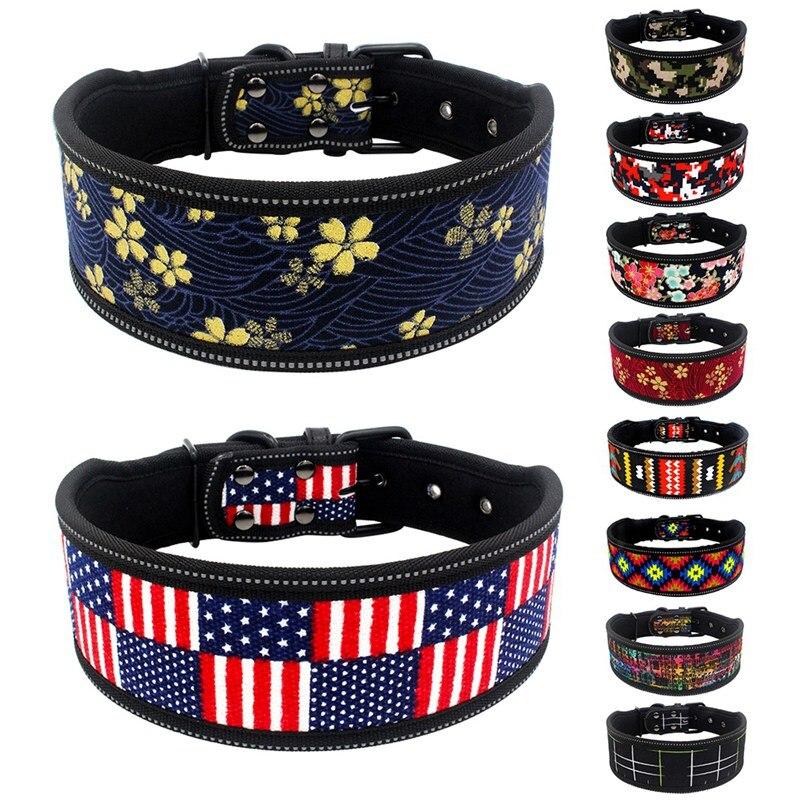 Reflective Nylon Dog Collar Fashion Printed Adjustable Pet Collars For Medium Large Dogs Pitbull Pet Dog Supplies S M L