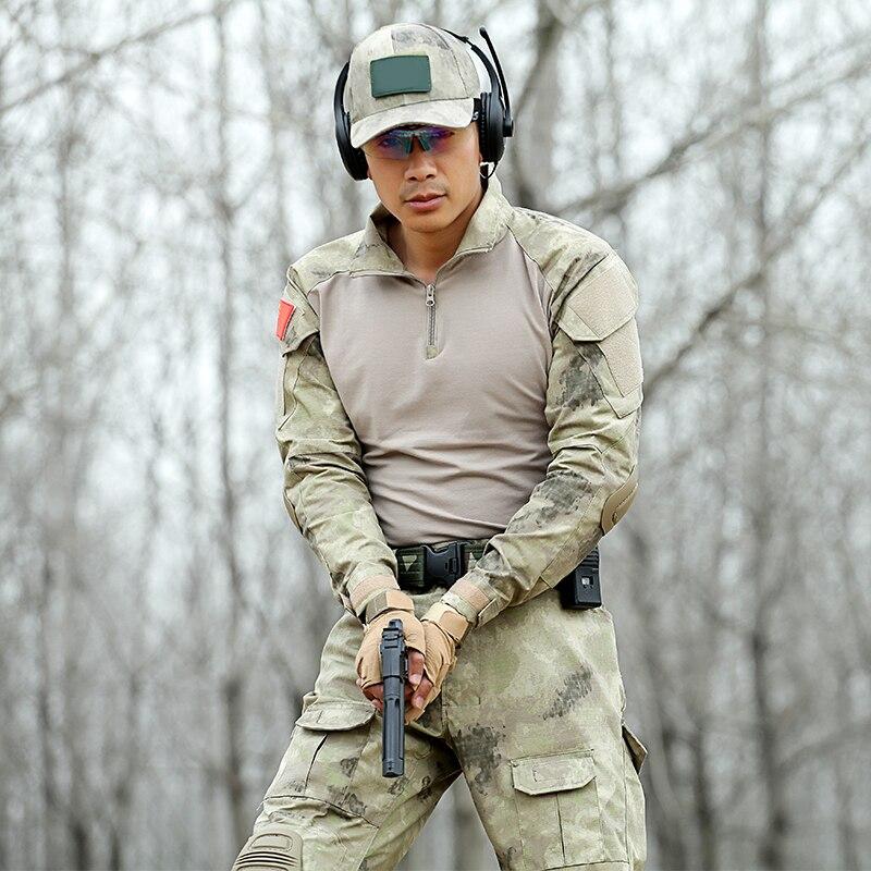 Hommes vêtements de chasse uniformes militaires Multicam armée Combat chemise pantalon tactique avec genouillères Camouflage vêtements Ghillie costume