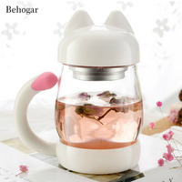 Behogar 420ml 14oz Cute Glass Tea Cup With Lid And Tea Stainer Cat Tail Handle For