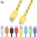 3 M Плетеный Ткань Плоским Красочный Micro USB 3.0 Синхронизации Данных Кабель Зарядного Устройства Шнур для Samsung Galaxy S5 Note 3