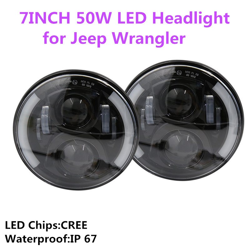 7''inch 50W Round LED Projection Headlight H4 H13 High low beam DRL Angel eyes for Jeep Wrangler Hummer OffRoad Lights black chrome round 75w high low beam drl led auto headlight driving fog lights for jeep wrangler hummer h1 h2 offroad