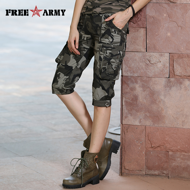 High Quality Fashion Camo Shorts Models Feminino Pantalones Cortos Mujer Summer Women Camouflage Knee-Length Shorts Gk-9388