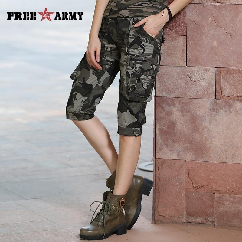 عالية الجودة موضة التمويه السراويل نماذج feminino pantalones cortos موهير الصيف النساء التمويه الركبة طول السراويل Gk-9388B