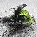 """5 """"Mini Punteada Superior de Satén Sombreros Tocados De Plumas Accesorios Del Pelo Para Las Mujeres El Envío Libre Femenino MFF13-002"""