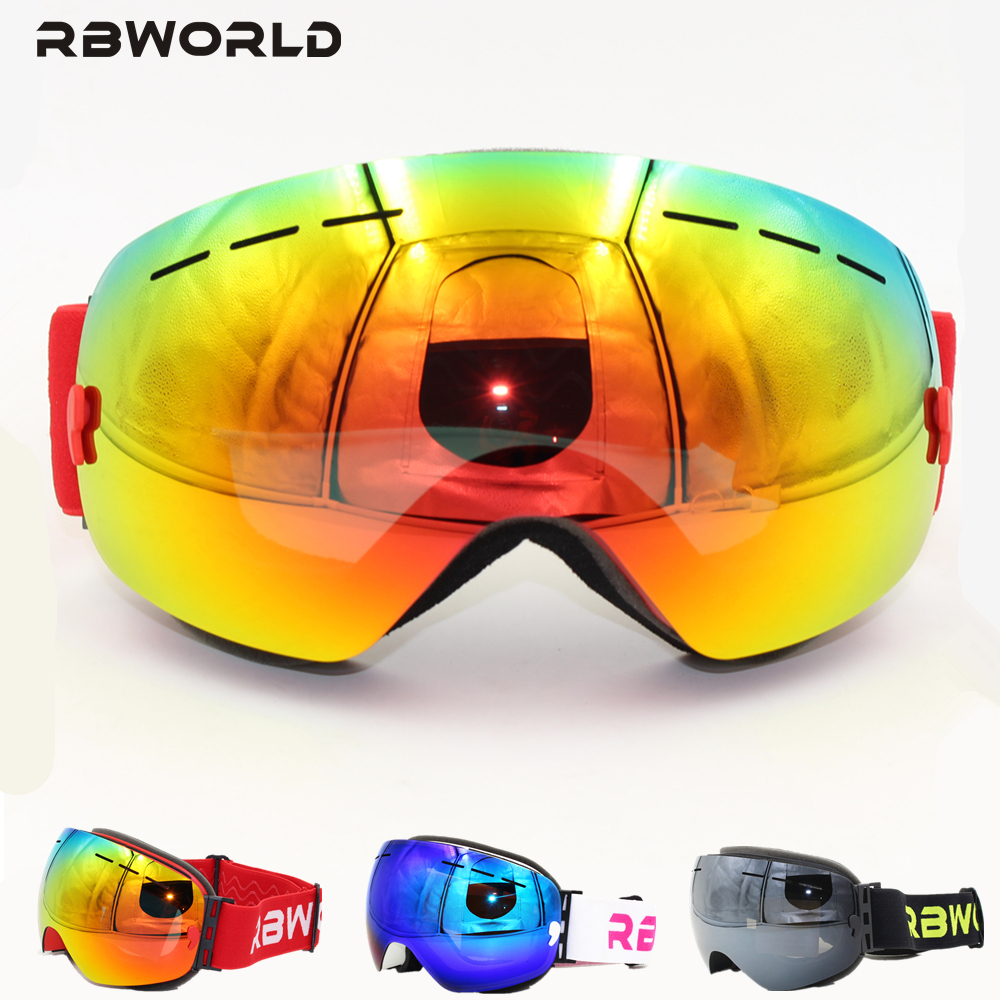 New RBWORLD Brand Ski Goggles Double UV400 Layers Anti-fog Big Ski Mask Glasses Skiing Men Women Snow Snowboard Polarized Lens