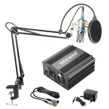 Neewer NW-800 Condenser Microphone Kit Black 48V Phantom Power Supply XLR Cable for Home Studio Recording Boom Scissor Arm Stand(China)