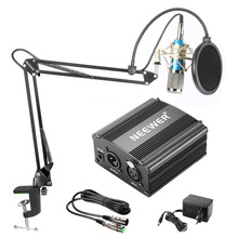 Neewer NW-800 Condenser Microphone Kit Black 48V Phantom Power Supply XLR Cable for Home Studio Recording Boom Scissor Arm Stand