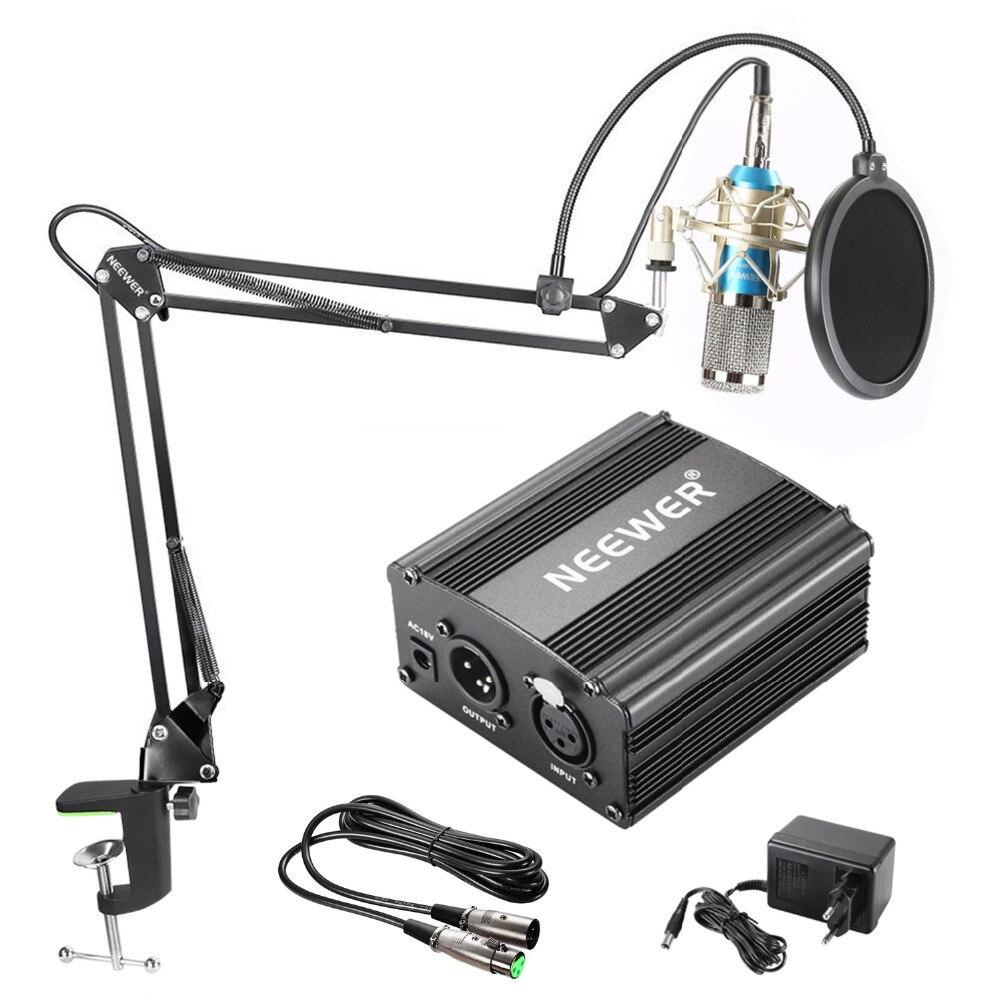 Neewer NW-800 Kit Microphone à condensateur noir 48V alimentation fantôme câble XLR pour enregistrement à domicile Studio Boom bras ciseaux