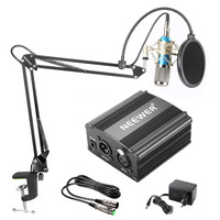 Neewer NW 800 Condenser Microphone Kit Black 48V Phantom Power Supply XLR Cable for Home Studio Recording Boom Scissor Arm Stand