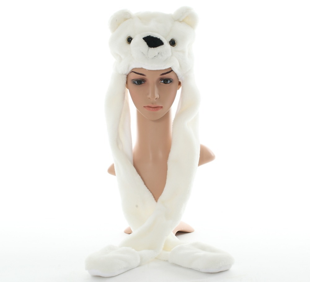 DOUBCHOW Cute Plush White Polar Bear Animal Hats with Paws <font><b>Gloves</b></font> for Womens Mens Teenagers Kids Boys Girls Winter <font><b>Warm</b></font> Beanie
