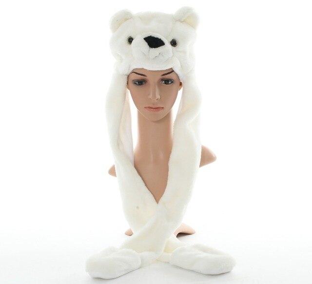 DOUBCHOW Simpatico Peluche Bianco Polar Bear Cappelli Animali con Le Zampe  guanti per le Donne Mens 8126592b77f7