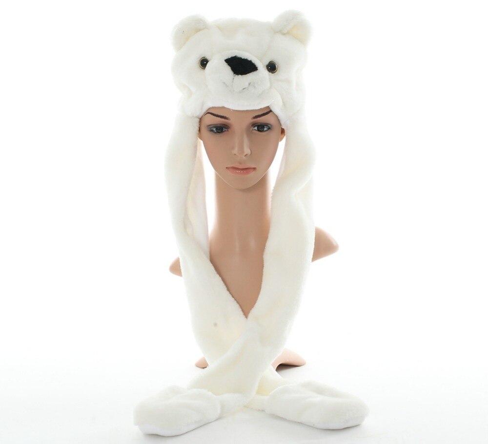 ᗚDudar lindo felpa Oso Polar animal sombreros con las patas Guantes ...