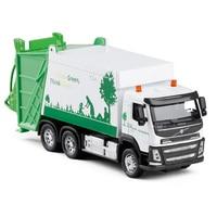 1:50 Volvo Dumpcart Transport Garbage Truck Tanker Alloy Pull Back Toy Diecast Metal Model Sound Light Collection Model V080