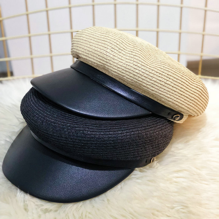 Beckyruiwu 2018 PU Leather Peak Straw Sun Hat Solid Color Navy Hat Men Newsboy Caps Women Summer Fashion Flat Army Navy Cap