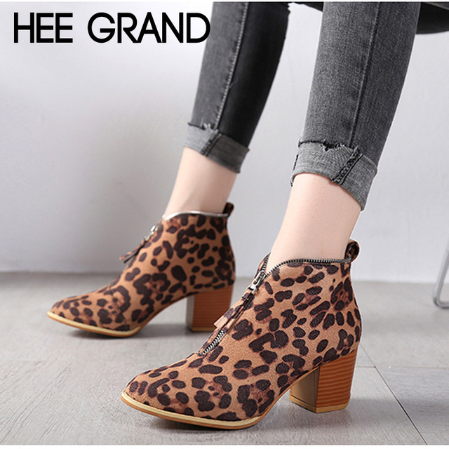 e2cf2898569 HEE GRAND Leopard Color Suede Ankle Boots Winter Sexy Women Boots Slip on  Casual Gladiator Shoes Woman Plus Size 35-43 XWX7250