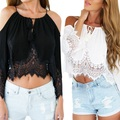 High Quality Lady Off Shoulder Sexy Tassels Crop Top Lace Chiffon Shirt