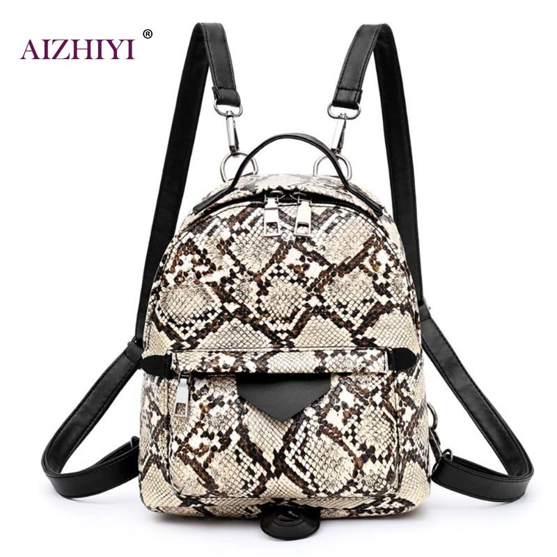 Girls Fashion Female Casual Animal Print Shoulder Crossbody Bags Women Large Capacity Snake Leopard Backpack PU Leather Knapsack