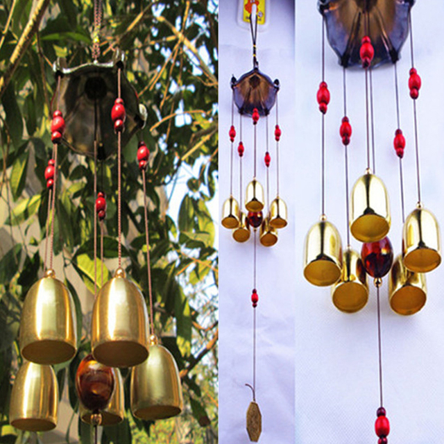 Amazing Copper Wind Chimes 5 Bells Pentagon Pavilion Feng Shui Windchimes  For Outdoor Garden Yard Decoration