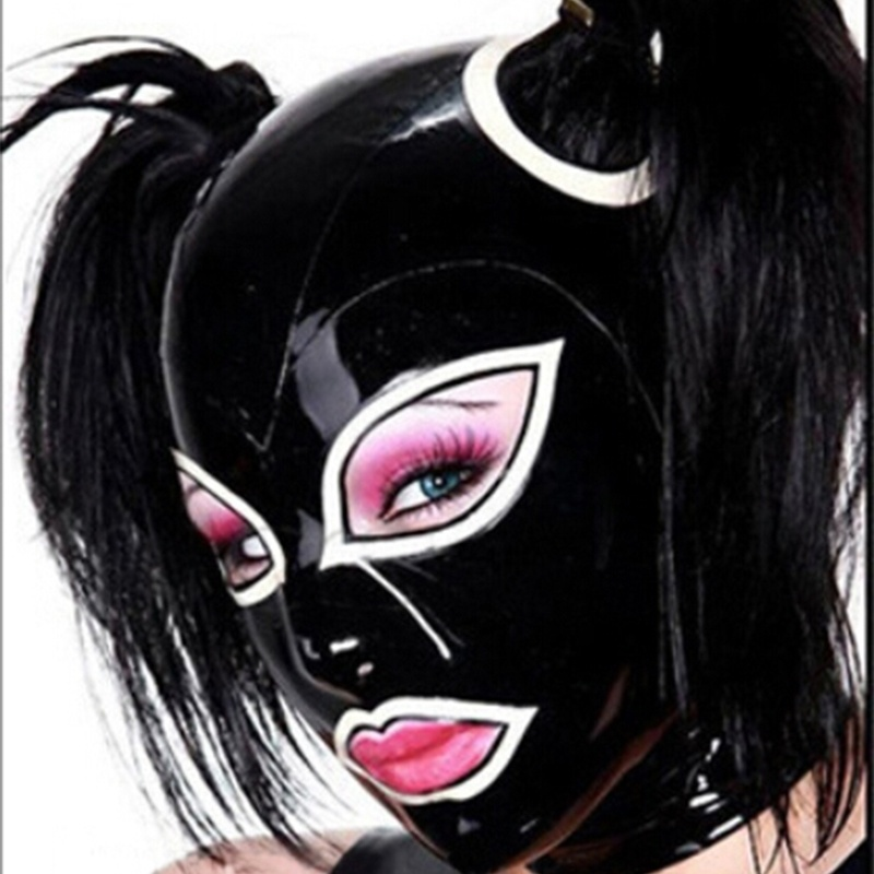 Latex Hood with Double Hair Handmade Rubber Mask Club Party Wear Costume bdsm bondage bdsm mask