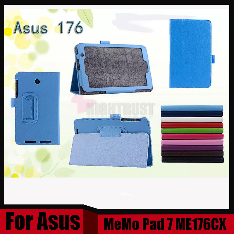 3 in 1 High Quality Lychy Texture pu Leather Case For ASUS MeMO Pad 7 ME176 ME176C ME176CX + Stylus + Screen Film
