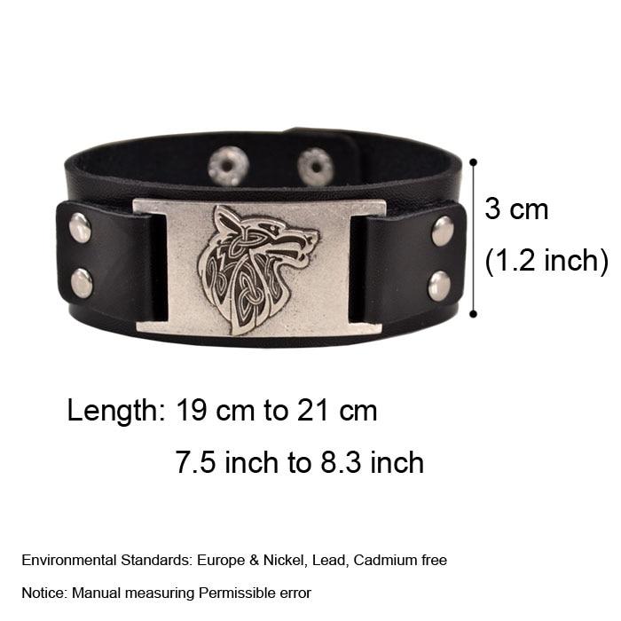 18317631fa80 Vintage Religion Bangle Viking Wolf Pulsera Hombres Amplia correa de cuero  Pulseras Brazaletes Totem Accesorios de la joyería