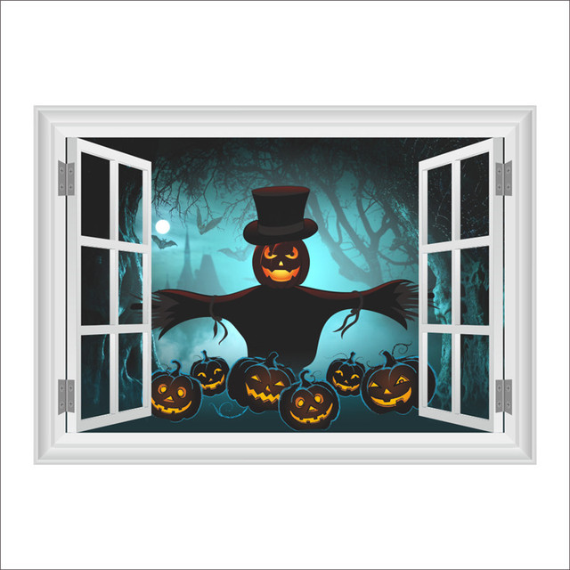 Halloween Wall Stickers Living Room Decoration 3d Window Wall Decal Mural  Art Poster Pumpkin Lantern Home