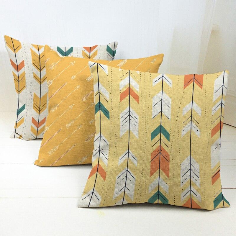 Nordic Aztec Bohemian Yellow Arrow Cushion Cover Chic Colorful Linen Navajo Southwest Throw Pillow Case Home Decor Cojines