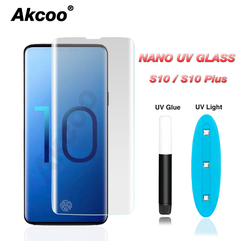 Akcoo S10 Plus Case friendly UV full glue glass with fingerprint unlock for Samsung S8 9 Plus note 8 9 S10e 6D tempered glassAkcoo S10 Plus Case friendly UV full glue glass with fingerprint unlock for Samsung S8 9 Plus note 8 9 S10e 6D tempered glass