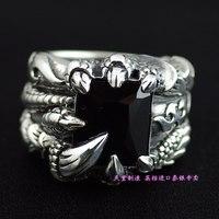 Ювелирные украшения 925 пробы серебро тяжелый и Ожесточенные Дракон Когти площади бурения Тайский серебряные мужские кольца серебряные кол