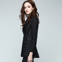 [CHICEVER] 2017 Winter Solid Slim Long Sleeve Notched Coats Casual Wild Black Women Small Suit Women Coat New Fashion Clothing