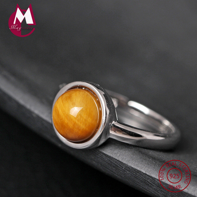 new 925 sterling silver rings for women original natural stone tiger eye womens ring handmade wedding - Handmade Wedding Rings