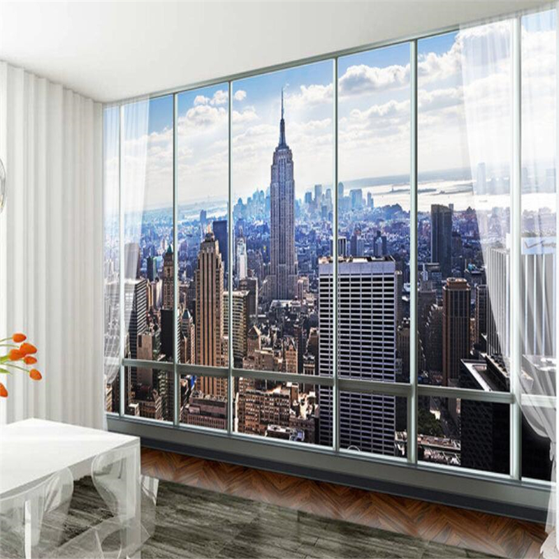 beibehang Custom 3d wallpaper European 3D windows New York high-rise buildings mural sofa living room TV backdrop decorative book knowledge power channel creative 3d large mural wallpaper 3d bedroom living room tv backdrop painting wallpaper