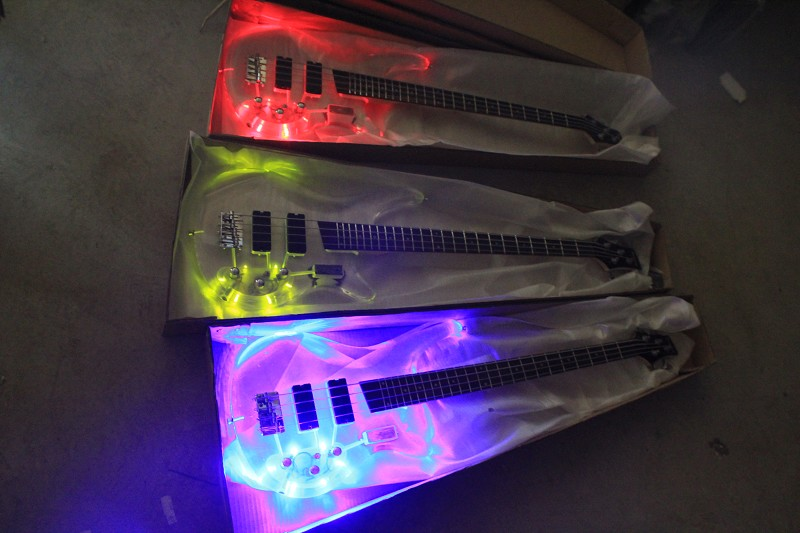 Top Quality Factory Custom 4 string Electric Bass guitar transparent acrylic Body with LED 3 color light,In Real photo show 1027