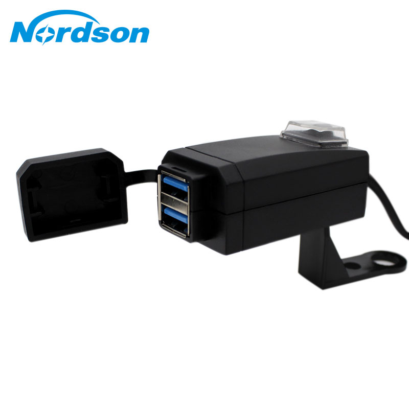 Nordson Universal 12V Waterproof Motorcycle Charger Moto Equipment Dual USB Port Change Power Supply Adapter For Phone Mobile
