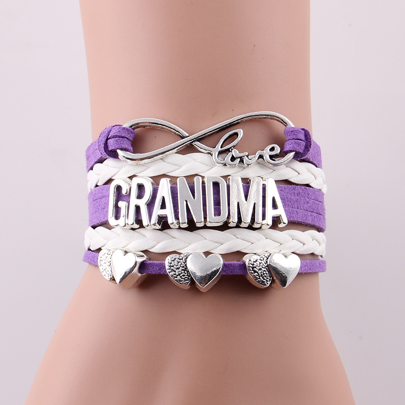Aliexpress Little Minglou 4 Colors Infinity Love Grandma Bracelet Heart Charm Leather Bracelets Bangles For Women Jewelry Gift From